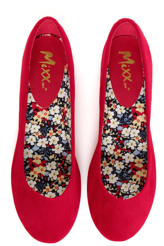 Mixx Shuz Amy 07 Red Ballet Flats at Lulus.com!