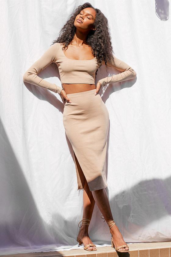 Lulus | Best Babe Beige Ribbed Two-Piece Midi Dress | Size Large