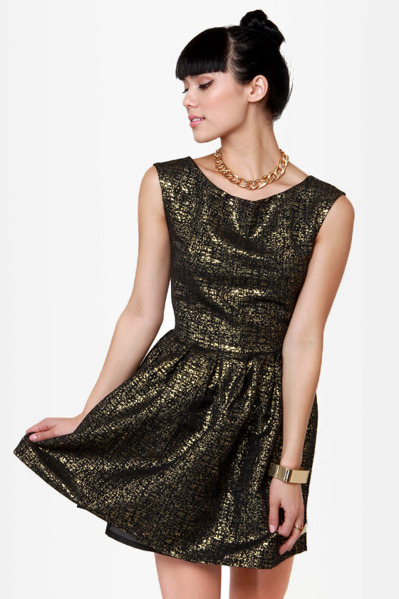 cf2015f7f71 Fancy Brocade Dress - Black and Gold Dress - Cocktail Dress -  44.00