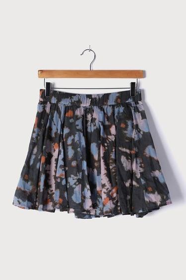 Free People Sway My Way Blue Multi Print Pleated Pull-On Mini Skirt
