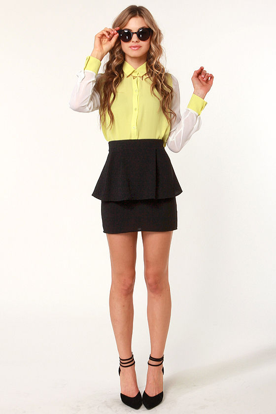 Peplum Lovin' Black Mini Skirt at Lulus.com!