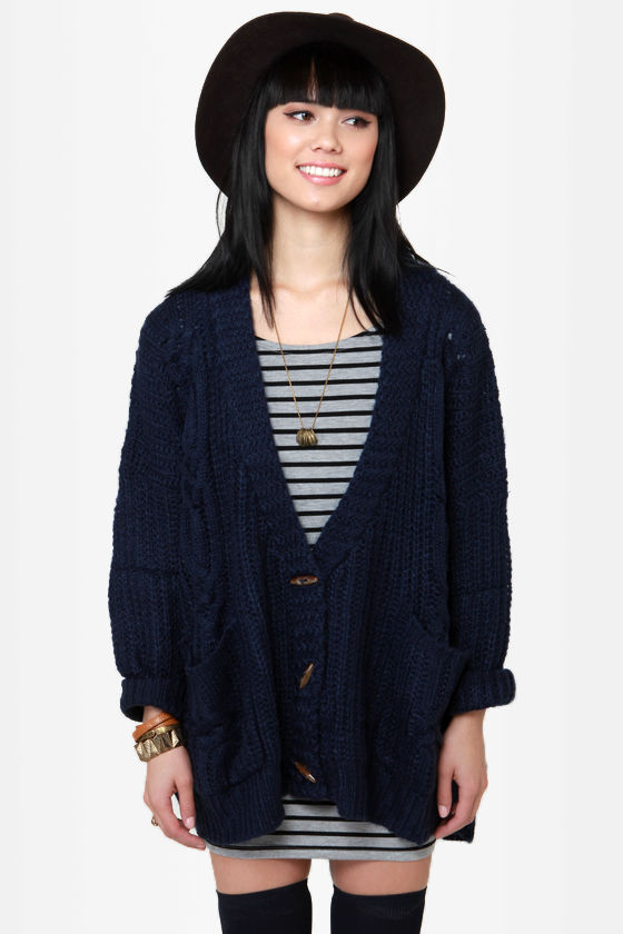 Cute Oversized Sweater - Navy Blue Sweater - Cardigan Sweater - $58.00