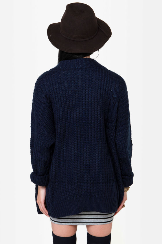 Larger Than Life Oversized Navy Blue Cardigan Sweater at Lulus.com!