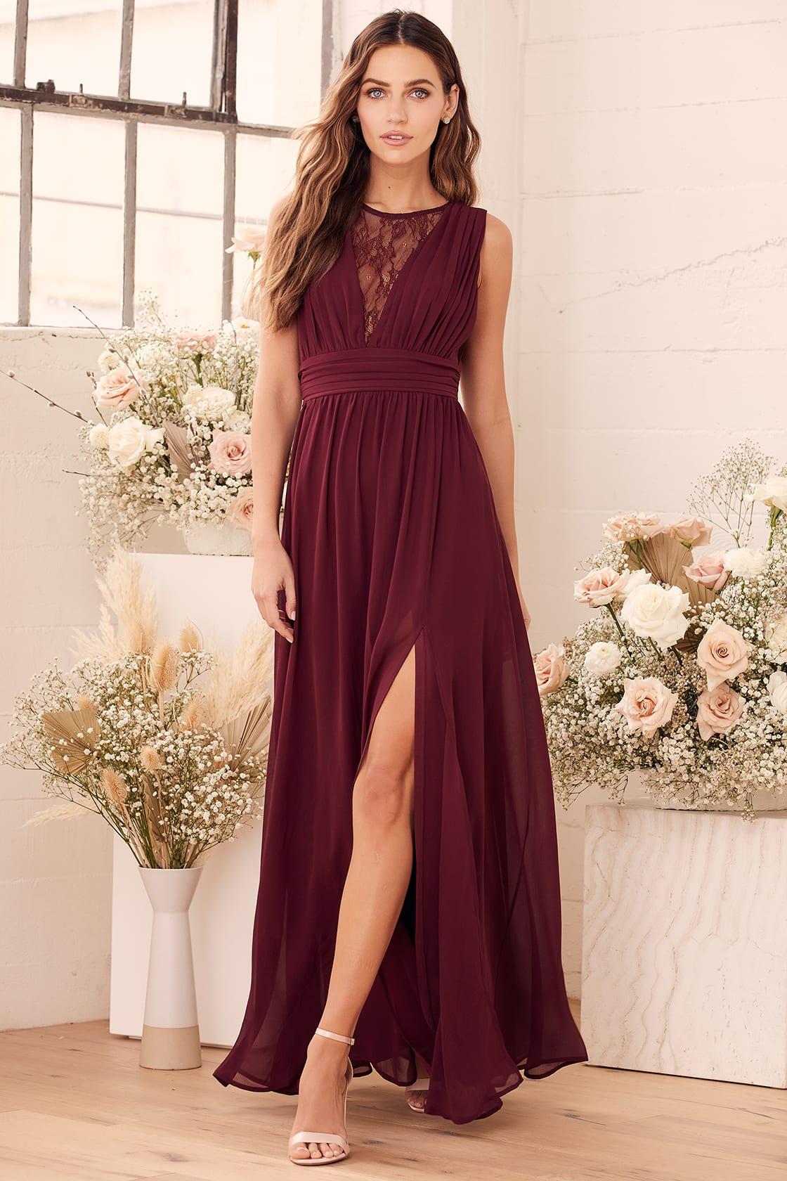 Dreamy Devotion Burgundy Lace Sleeveless Maxi Dress