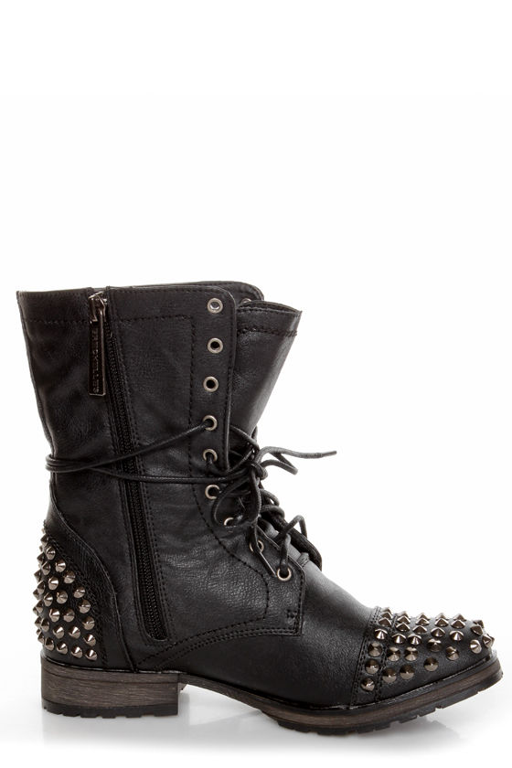 Georgia 28 Black Studded Lace-Up Combat Boots at Lulus.com!