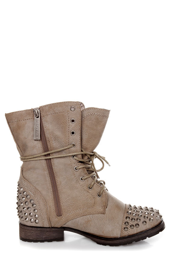 Georgia 28 Ice Taupe Studded Lace-Up Combat Boots at Lulus.com!
