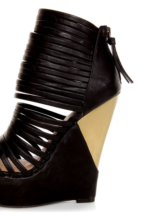 Heart Soul Gerardo Black Strappy Platform Cage Wedges at Lulus.com!