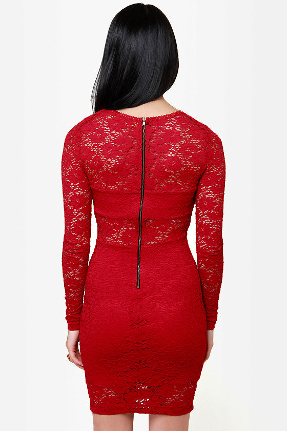 The Space Between Red Lace Dress at Lulus.com!