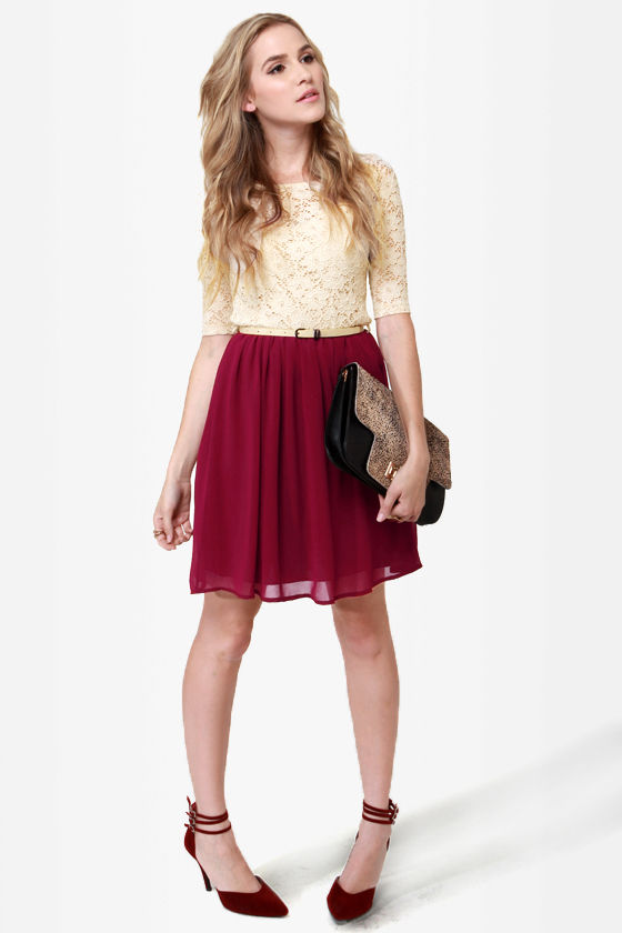 Pretty Beige And Burgundy Dress
