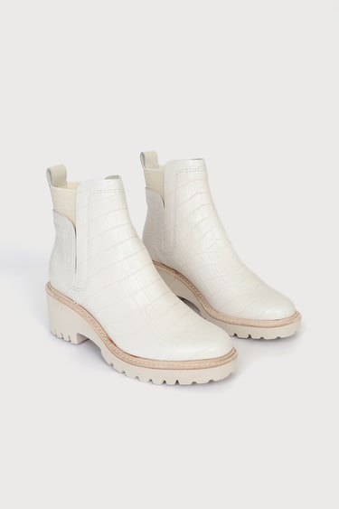 Dolce Vita Huey Ivory Croco Print Leather Ankle Boots