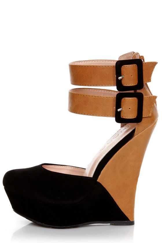 Monaco 2 Black and Tan Belted Color Block Wedges at Lulus.com!