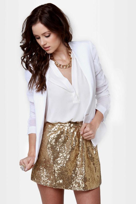 Cute Gold Skirt - Sequin Skirt - Mini Skirt - $44.00