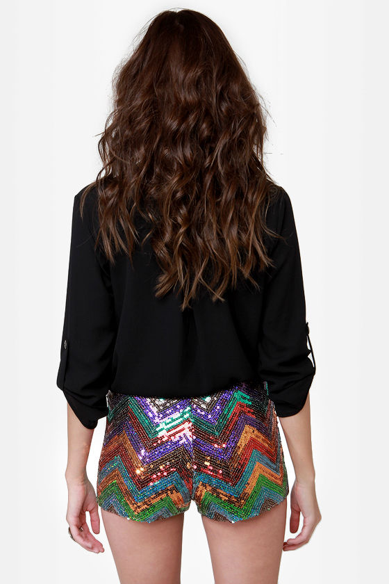 Glam Wow Multicolored Sequin Shorts at Lulus.com!