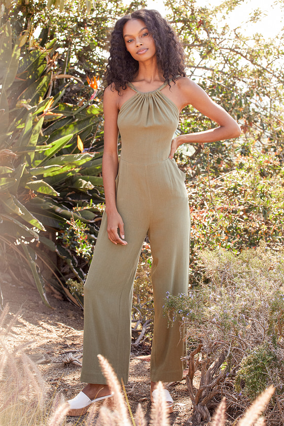 Lulus | Consistently Cute Olive Green Tie-Back Wide-Leg Jumpsuit | Size Large