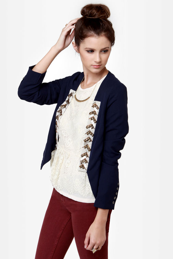 Treasury Beaded Navy Blue Jacket at Lulus.com!