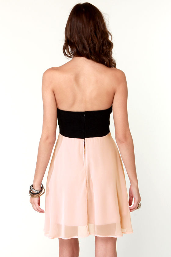 Ta-ra-ra Bustier! Black and Blush Pink Dress at Lulus.com!