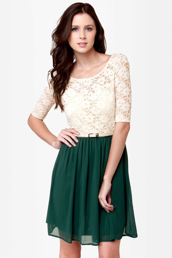 Pretty Beige and Dark Green Dress - Lace Dress - Belted Dress - $44.00