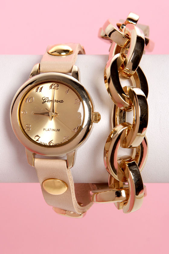 Times Table Wraparound Beige Leather Watch at Lulus.com!