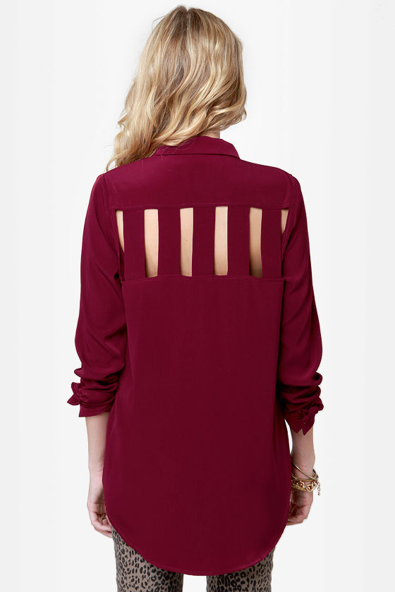Back on Track Burgundy Button-Up Top at Lulus.com!