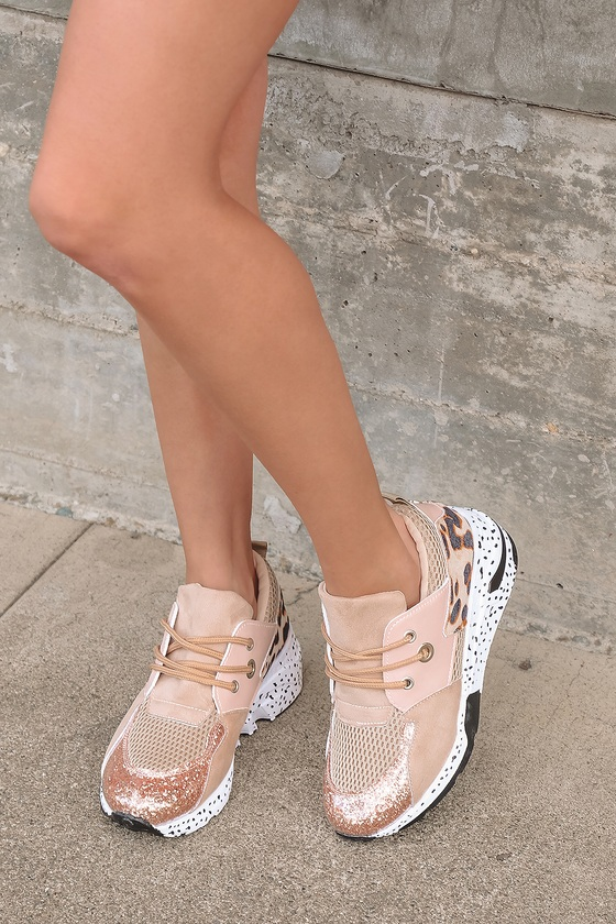 Lulus | Amoura Rose Gold Multi Color Block Chunky Sneakers | Size 10