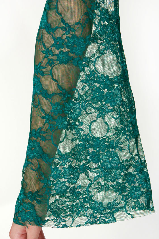 The Lace Show Teal Backless Lace Dress at Lulus.com!