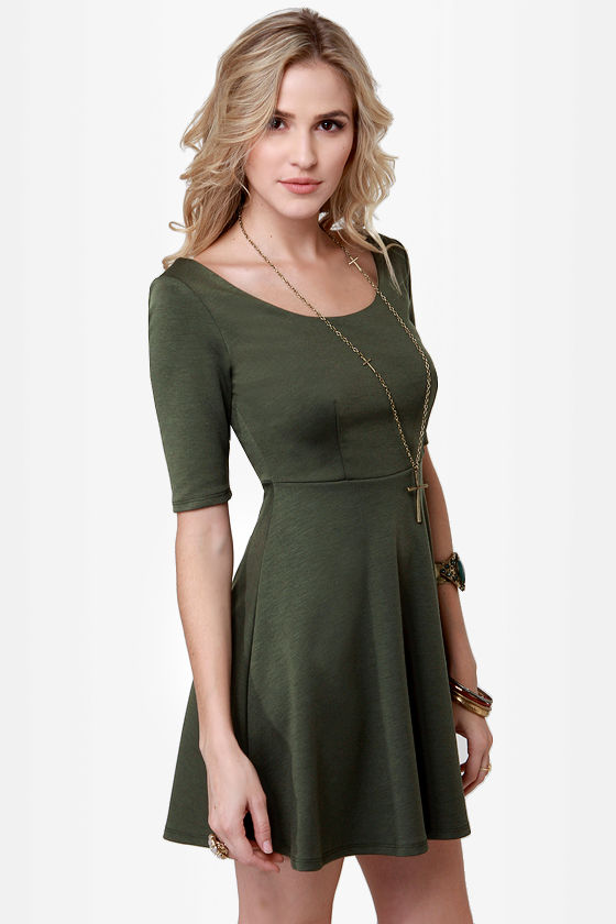 Cute Olive Green Dress - Skater Dress - $37.50