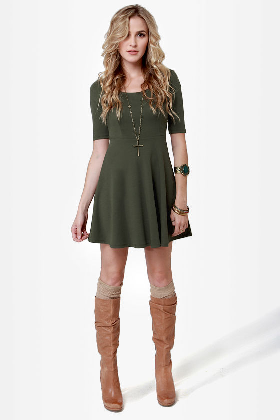 Month of Sundaes Olive Green Dress at Lulus.com!