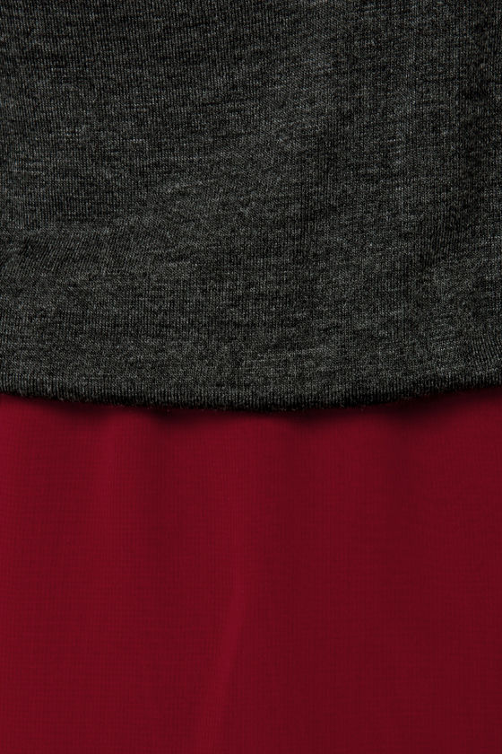 LULUS Exclusive Study Hall Grey and Burgundy Dress at Lulus.com!
