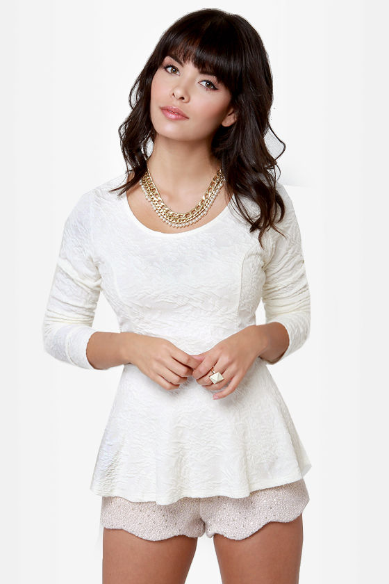 Sweeter Than Heaven Cream Peplum Top at Lulus.com!