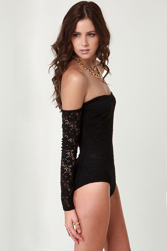 Off-the-Shoulder and Wiser Black Lace Bodysuit at Lulus.com!