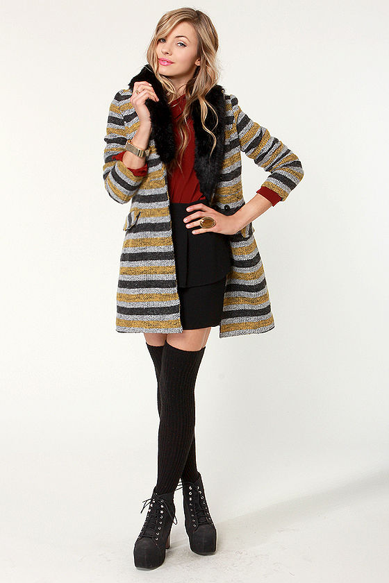 Haute Coat-ure Striped Coat at Lulus.com!