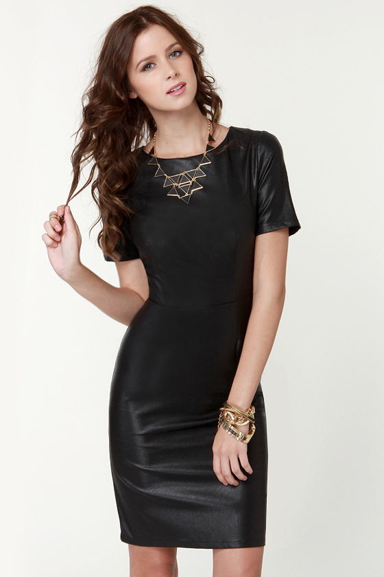 Little Black Dress Vegan Leather Dress Short Sleeve Dress 6800