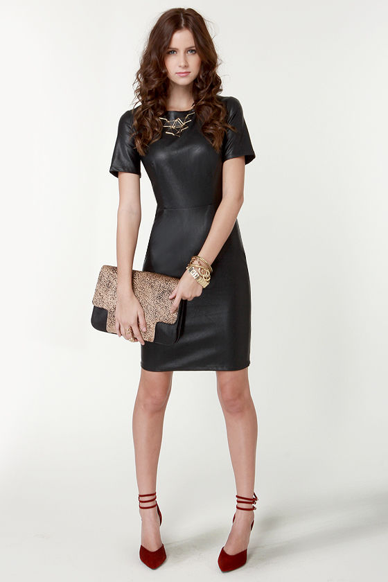 Little Black Dress - Vegan Leather Dress - Short Sleeve Dress - $68.00