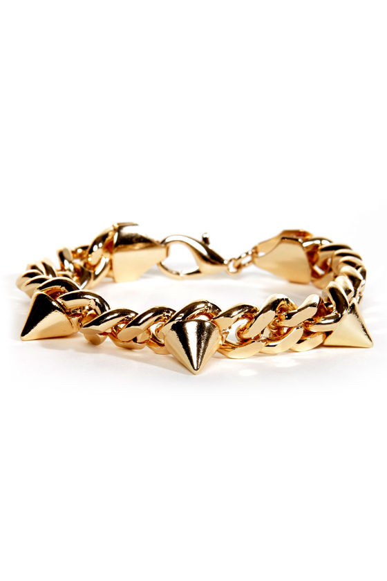 Public Spike-ing Gold Chain Bracelet at Lulus.com!