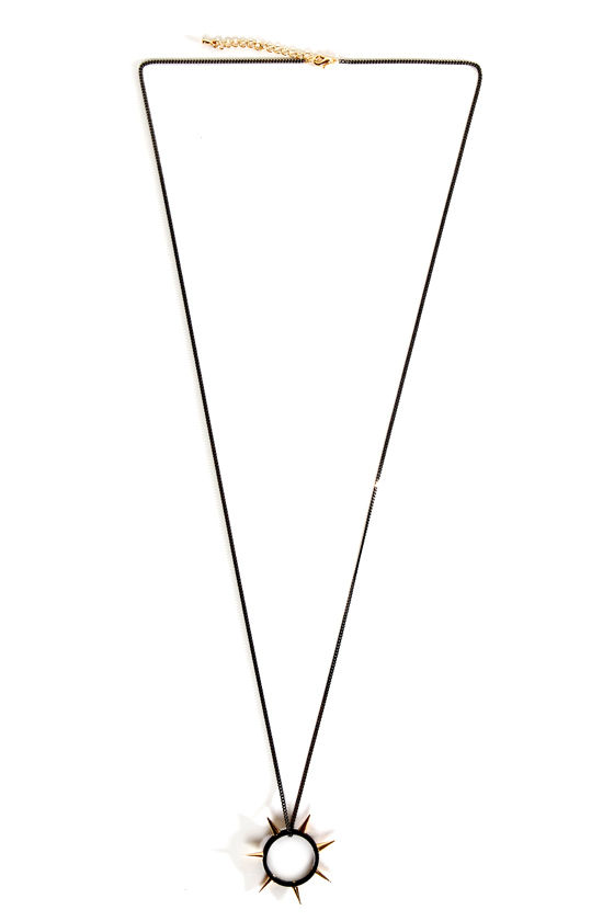 Spike Up the Band Black Spike Necklace at Lulus.com!