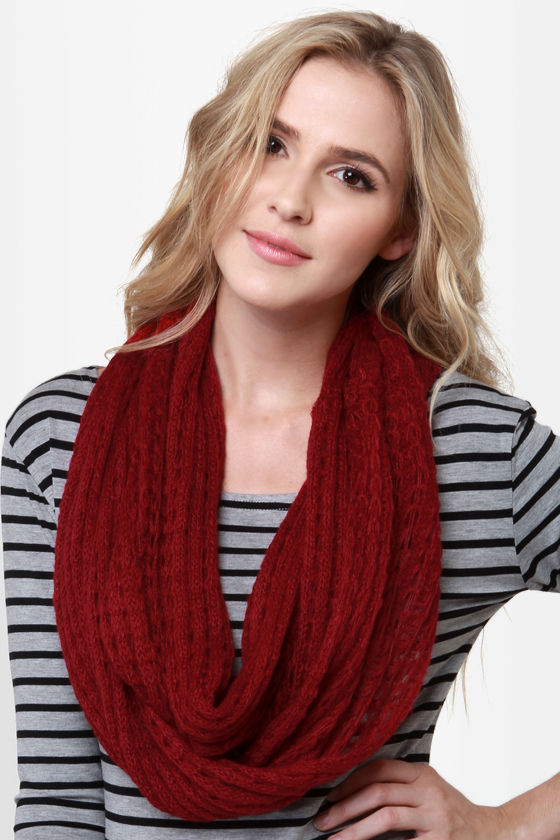 Ring Around the Cozy Wine Red Infinity Scarf at Lulus.com!