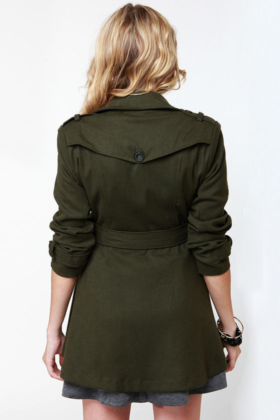 Cute Army Green Coat - Trench Coat - Olive Green Coat - $75.00