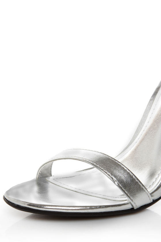 Anne Michelle Enzo 01 Silver Metallic Ankle Strap Heels at Lulus.com!