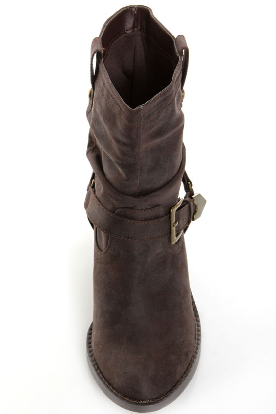 Soda Chi Brown Harness Slouchy Cowgirl Boots at Lulus.com!