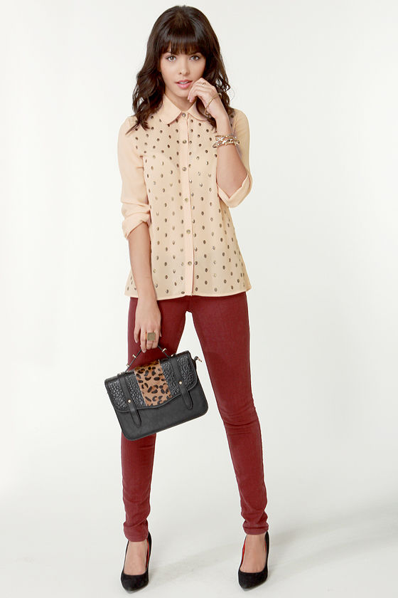Dead Ringer Blush Skull-Studded Button-Up Top at Lulus.com!