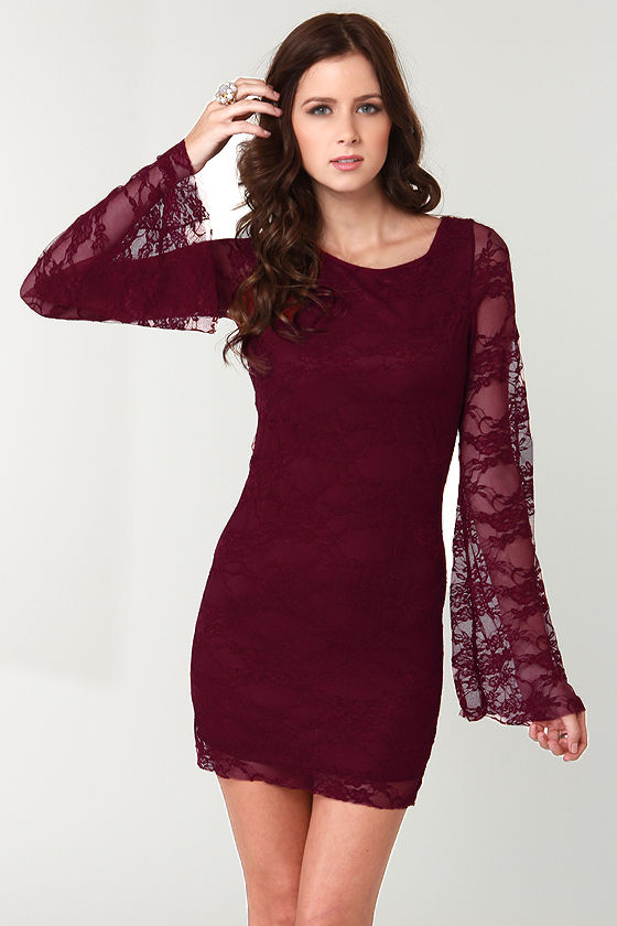 Maroon Lace Dress