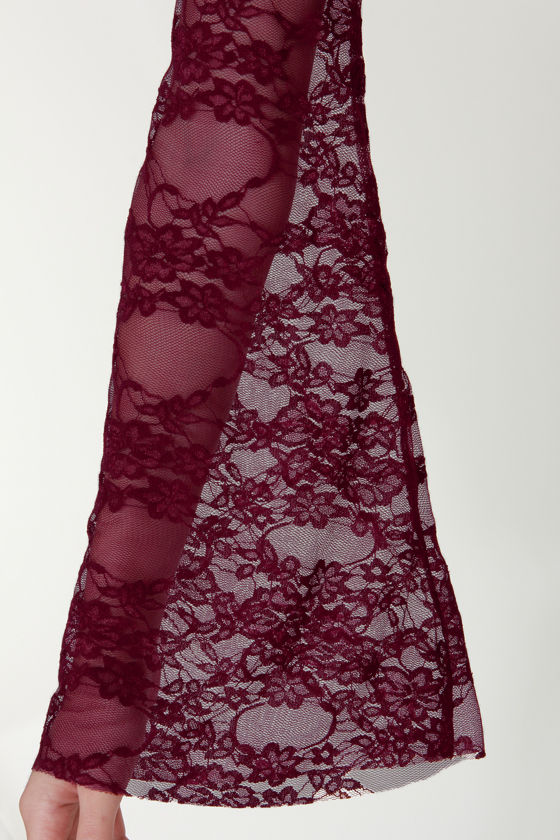 The Lace Show Burgundy Backless Lace Dress at Lulus.com!