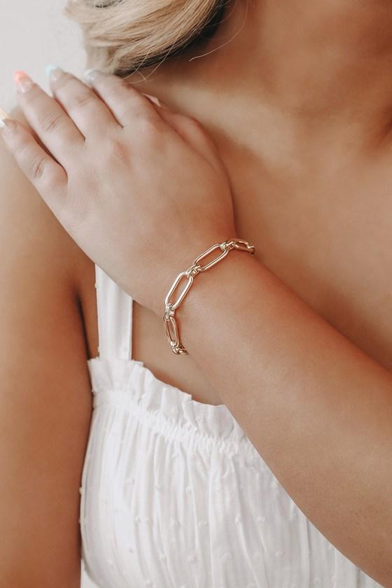 Linked Together 14KT Gold Chain Bracelet