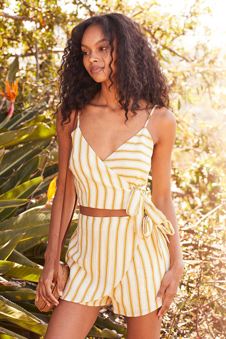 Perfect Vacay Cream Striped Cropped Wrap Top