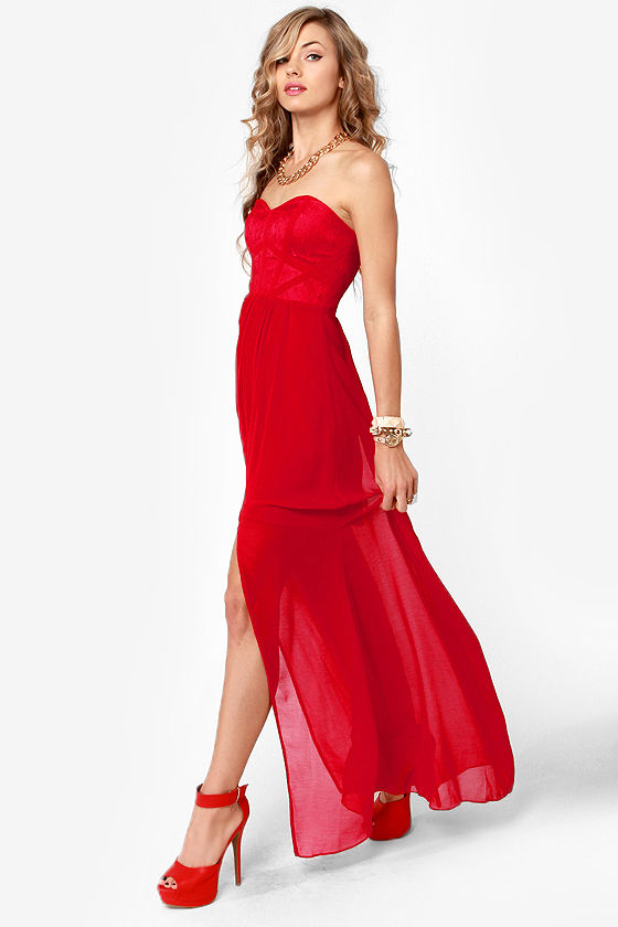 Aryn K Fire Dancer Strapless Red Maxi Dress at Lulus.com!