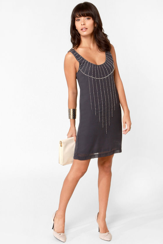 Black Sheep Garland Slate Blue Beaded Dress at Lulus.com!