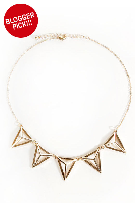 All the Acute-trements Gold Triangle Necklace at Lulus.com!