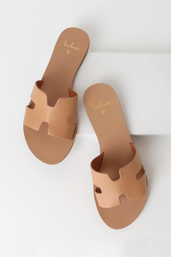 Cadence Tan Vachetta Leather Slide Sandals