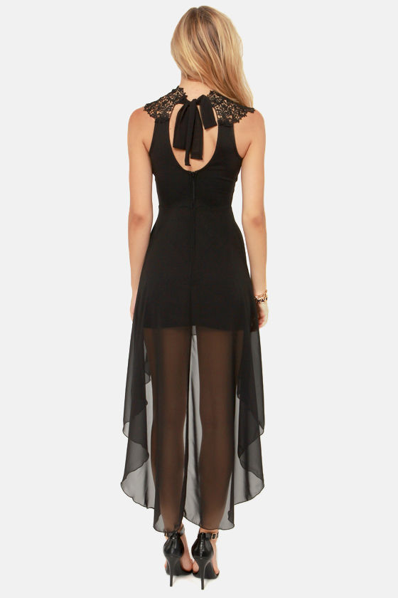 Enchants Encounter Black Lace Dress at Lulus.com!