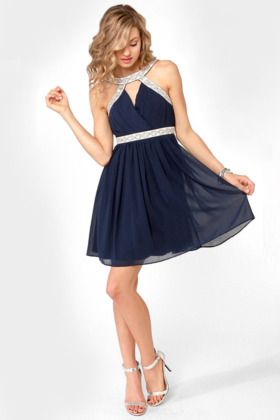 Elegance in the Room Navy Blue Beaded Dress at Lulus.com!
